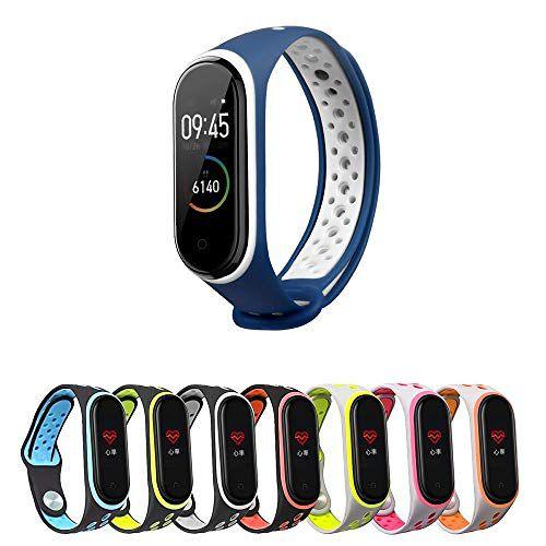 Pulseira estilo Nike Sport para Xiaomi Mi Band 4 e Mi Band 3 - Azul e Branco + Brinde Surpresa