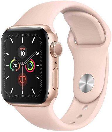 Apple Watch Series 5 Gps, 40 mm, Alumínio Dourado, Pulseira Esportiva Areia Rosa e Fecho Clássico + Película 3D