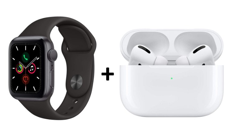 Super Kit Apple Watch serie 5 44mm preto + Airpods Pro Wireless - 1 ano de garantia