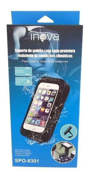 Suporte Veícular De Guidão Para Motos e Bicicletas Com Capa Protetora Inova Spo-8301 (Cor Preto)