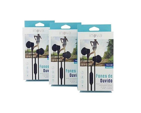 Fone de Ouvido com Microfone Inova FON-2135D (Cor Branco)