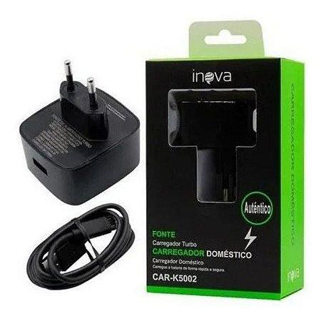 Carregador Para Celular e Tablet Fonte Turbo Doméstica Inova CAR-K5002 (PRETO)