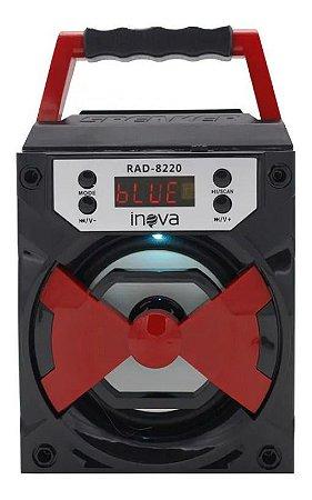 Caixinha De Som Bluetooth Alto-falante Portátil Inova RAD-8220 Cor (PRETO E VERMELHO)