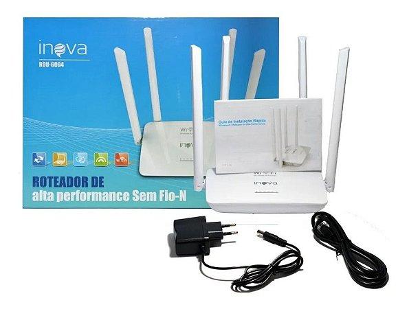 Roteador Wi Fi Alta Performance Com 4 Antenas Inova ROU-6004 (Cor Branco)