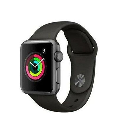 Pulseira Esportiva Caixa 38mm Apple Watch Series 1 2 3 Sport Silicone (Preto)
