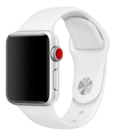 Pulseira Esportiva Caixa 38mm Apple Watch Series 1 2 3 Sport Silicone (Branco)