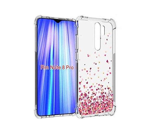Capa Antishock Corações Rosa Xiaomi Redmi Note 8 Pro - Capinha Flexível Bordas Reforçadas