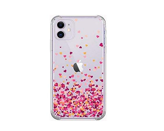 Capa iPhone 11 6.1 Polegadas Chuva Corações Rosa Heart Capinha Bordas Reforçadas