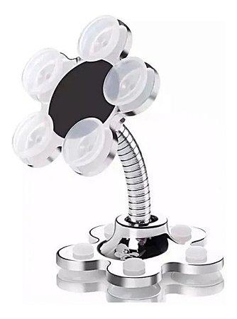 Suporte Para Celular de Mesa com Ventosas 360 Graus (Cor Prata)