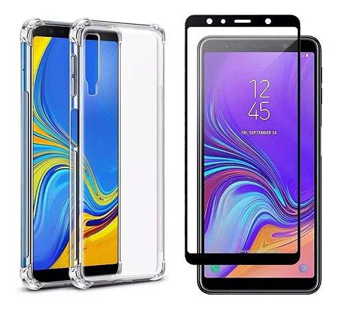 Capa Anti Shock Transparente + Pelicula Vidro 3D Samsung Galaxy A7 2018