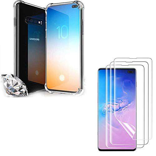 Capa Anti Shock Impactos Samsung Galaxy S10 Plus + 2x Películas de Nano Gel Transparentes