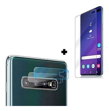 Kit Película Gel Tela Samsung Galaxy S10 Plus + Película de Lente Câmera Gel Com Recorte do Flash