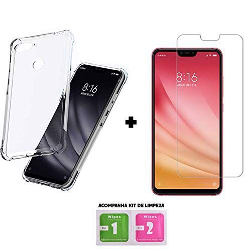 Capa Anti Shock Xiaomi Mi 8 Lite + Película de Vidro Temperado, Acompanha Kit Limpeza