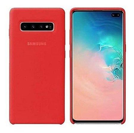 Case Silicone Aveludada Para Samsung Galaxy S10 Plus Vermelha