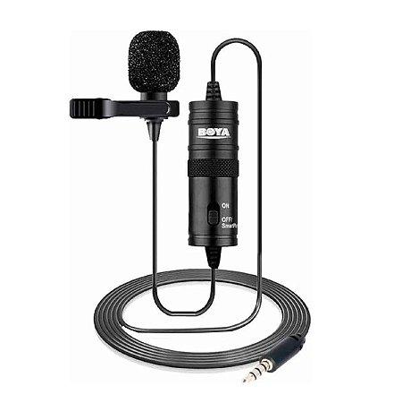 Microfone de Lapela Boya BY-M1 Omnidirecional Cor Preto