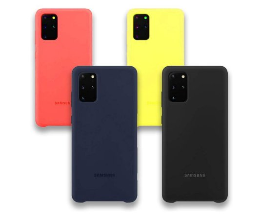 Kit 04 case Silicone com Interior Aveludado Para Samsung S20 Plus - Preta, Azul, Amarela e Vermelha