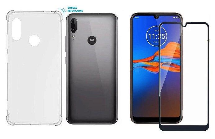 Kit capa anti shock + Película de vidro 3D Motorola E6s bordas pretas