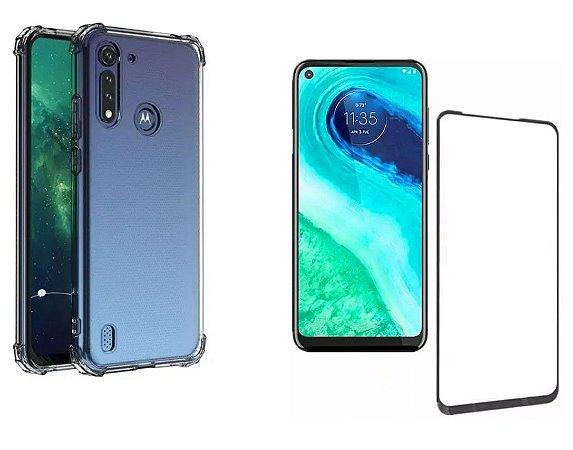 Kit capa anti shock + Película de vidro 3D Motorola G8 Power bordas pretas