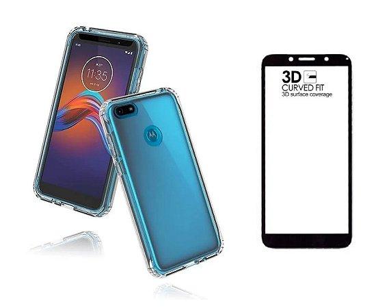 Kit capa anti shock + Película de vidro 3D Motorola E6 Play bordas pretas