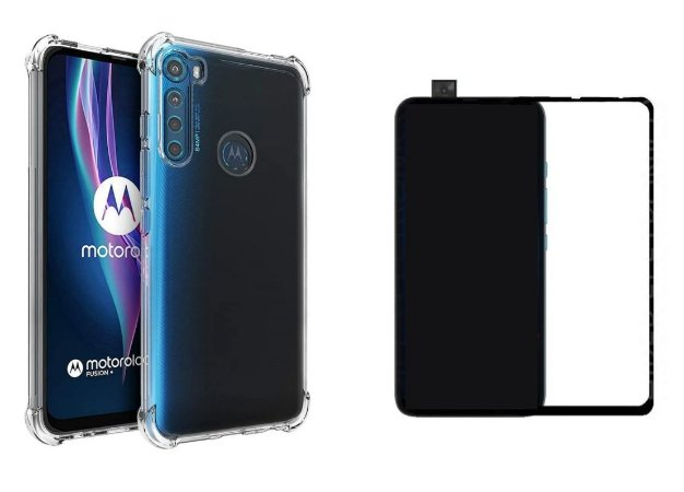 Kit capa anti shock + Película de vidro 3D Motorola One Fusion Plus bordas pretas
