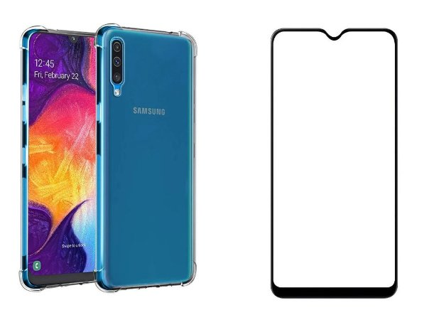 KIT CAPA ANTI SHOCK + PELÍCULA DE VIDRO 3D SAMSUNG GALAXY A50 BORDAS PRETAS