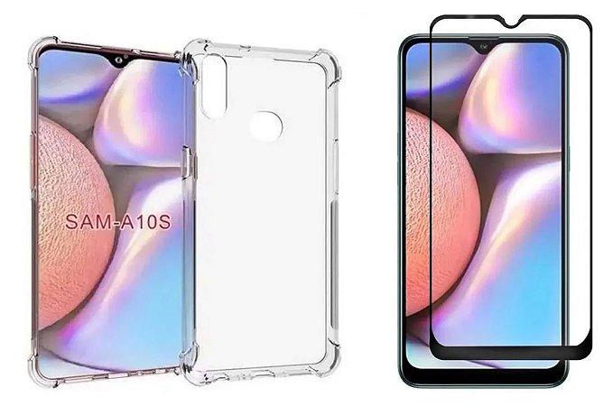 Kit Capa Anti Shock + Película de Vidro 3D Samsung Galaxy A10s Bordas Pretas