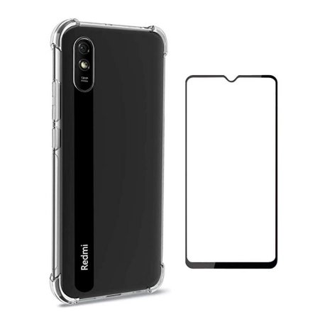 KIT CAPA ANTI SHOCK + PELÍCULA DE VIDRO 3D XIAOMI REDMI NOTE 9A BORDAS PRETAS