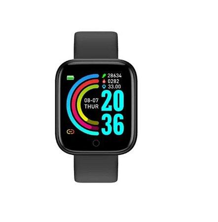Relógio Smartwatch Inteligente D20 Preto Esportivo Compatível Android e IOS