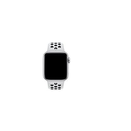 Pulseira Apple Watch de Silicone Esportiva Branca com Preto 42/44 MM