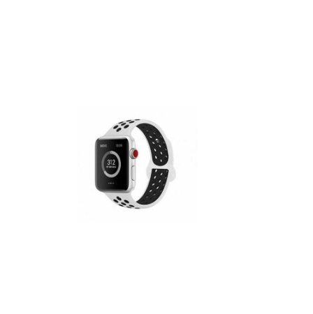Pulseira Apple Watch de Silicone Esportiva Branca com Preto 38 MM
