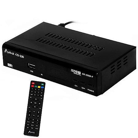 Conversor de TV Digital ISDB-T Audisat CD-230 Full HD com Gravador/HDMI/USB/Bivolt - Preto