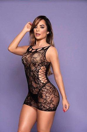 Vestido Em Tecido De Meia - Preto
