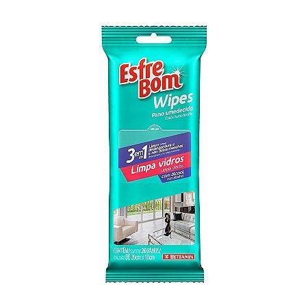 Pano Umedecido Wipes Limpa Vidros Pack C/ 20 panos