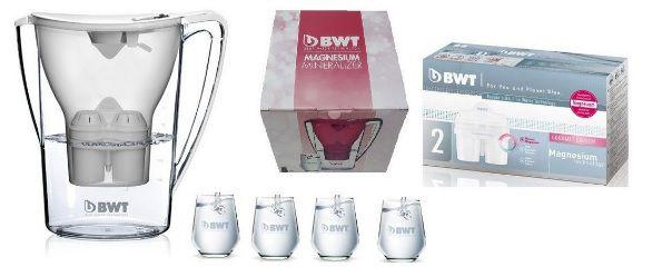 Combo Especial BWT - 01 Jarra Purificadora de Água BWT 2,7 LTS c/ Adição de Magnésio Branca + Jogo de Copos + 02 Filtros