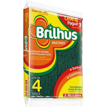 ESPONJA BRILHUS MULTIUSO L4/P3 -BETTANIN - CAIXA COM 60 UNIDADES