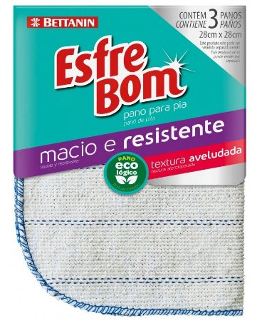 Pano Esfrebom Algodão CRU P/ Pia C/ 03 Peças