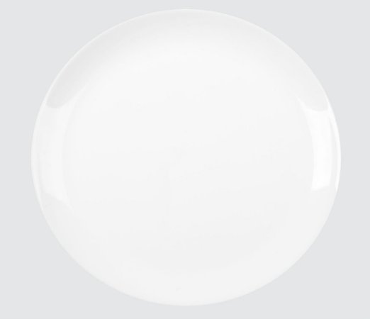 PRATO OPALINE BLANC RASO 27CM  500G (Peso Controlado) CAIXA COM 12 UNIDADES - NADIR DE FIGUEIREDO