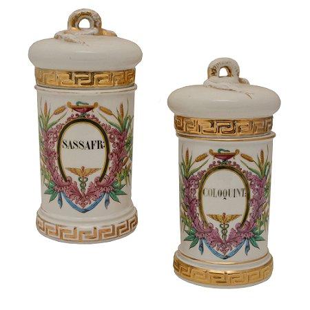 Potes de farmácia de porcelana Frances,  Vieux Paris de época