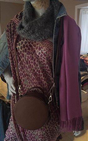 Bolsa redonda modelo Chanel de couro ,