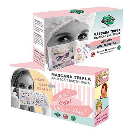 Máscara Trilpa Elástico ProtDesc 20un Fashion