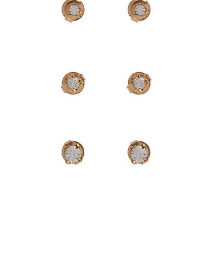 Kit 3 pares de brincos folheados dourados com pedra cristal luma