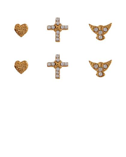 Kit 3 pares de brincos folheados dourados lolla
