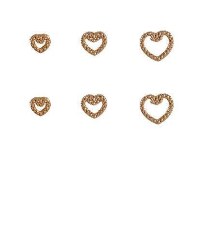 Kit 3 pares de brincos folheados dourados hess