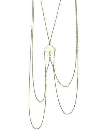 Colar body chain de metal dourado Siene