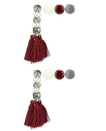 Kit de 4 brincos pequenos dourados com tassel e pedra vermelha Johoras
