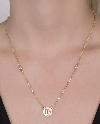 Colar de metal dourado com pedra cristal Virgem