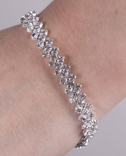 Pulseira de metal prateado com pedra cristal Crawd