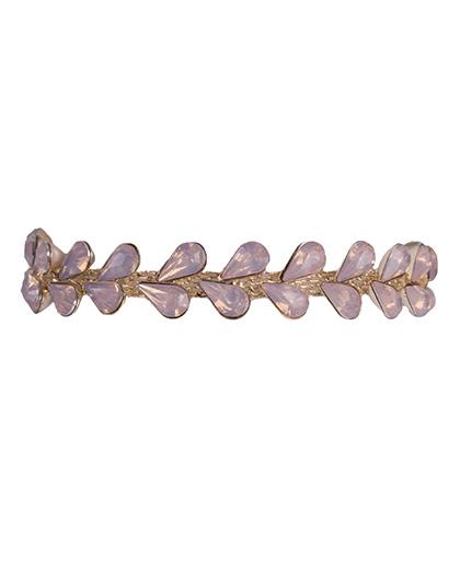 Pulseira de metal dourado com pedra rosé nicole
