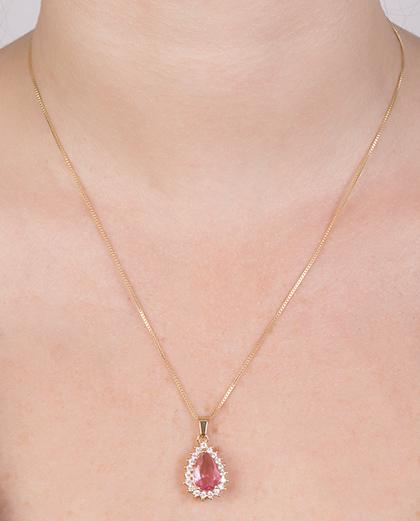 Colar de metal dourado com pedra rainbow pink Britt