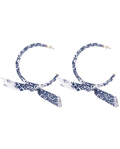 Brinco de argola bandana azul Celine